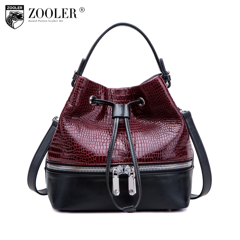 HOT Bucket genuine leather bag ZOOLER for women Simple fashion shoulder bag ladies #C156 zooler women 100