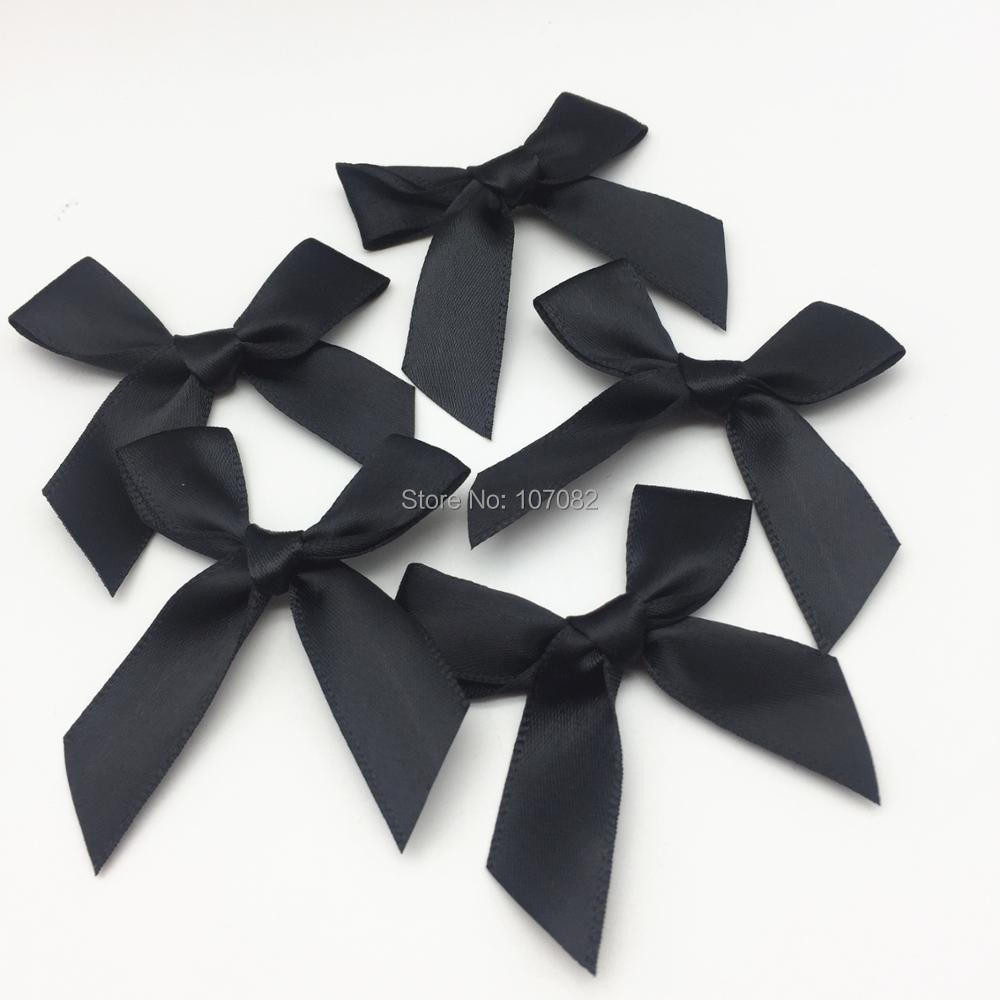 100pcs Black Polyester Satin Ribbon Bows Decorative Tail Bow Butterfly Ties For Doll Hair Accessory Embellishments
