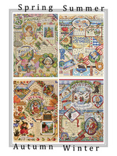 oneroom  Lovely Counted Cross Stitch Kit Spring Summer Autumn Winter Time Sampler janlynn Four Seasons Season