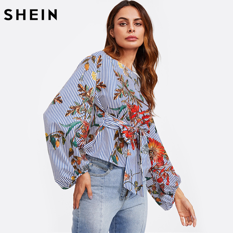 6b040b153f91 SHEIN Exaggerated Lantern Sleeve Belted Mixed Print Blouse Womens Long Sleeve  Tops Autumn Blue Striped Floral Blouse