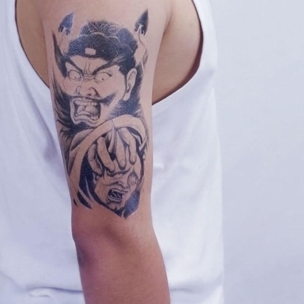 Yeeech Temporary Tattoos Sticker for Men Women Black Fake Large Arm Leg No Demon No Fear Designs Waterproof Body Art Real Look