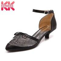 KemeKiss Size 30 49 Ladies High Heel Sandals Patchwork Lace Bowtie Buckle Thin Heels Sandals Party Wedding Female Footwears