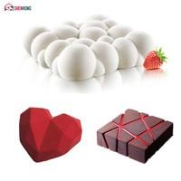 SHENHONG 3PCS Art Cake Mould Pan 3D Grid Block Clouds Diamond Heart Silicone Mold Mousse Silikonowe