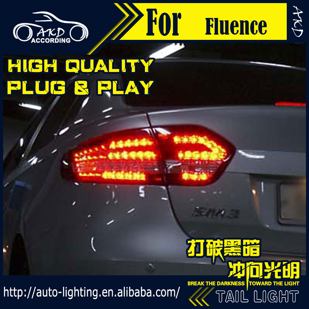 AKD tuning cars Tail lights For Renault Fluence 2010 2014 Taillights LED DRL Running lights Fog lights angel eyes Rear parking