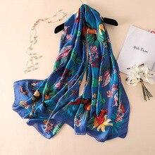 2020 Luxury Brand 100% Pure Silk Scarf Women Summer Designer Bird Foulard Shawl Ladies Long Bandana New 180*90cm