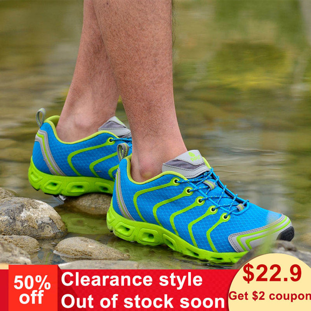RAX Men's Quick Drying Hiking Shoes Outdoor Water Sneakers Breathable Light Walking Shoes Women Fishing Shoes  Light jog sheos