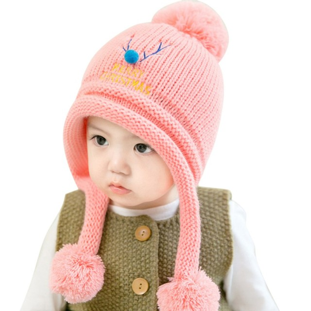 d8cdf066c63e4 Cute Baby Winter Hats Warm Beanie Cap For Children Boys Girls Animal Kids  Crochet Knitted Hat With Ball Ear Flap