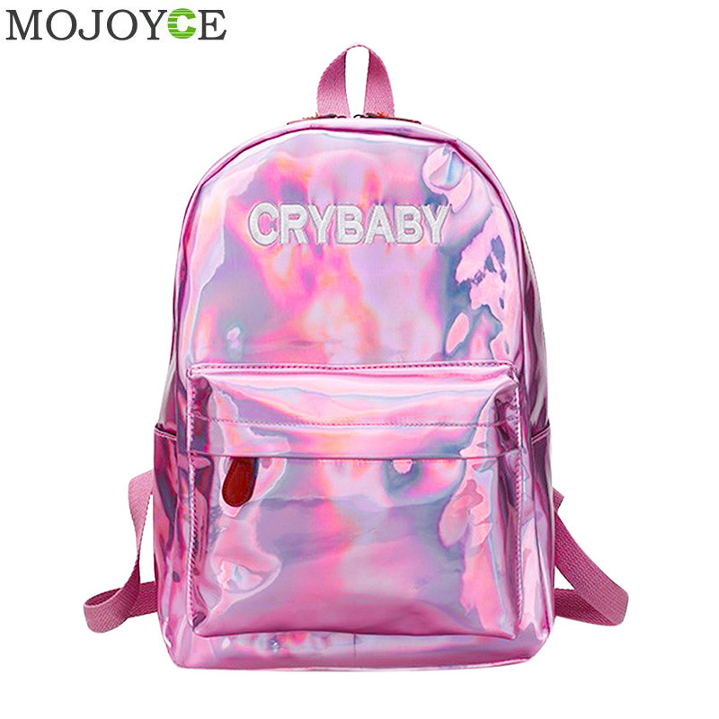 Mini Travel Bags Silver Blue Pink Laser Backpack Women Girls Bag PU Leather Holographic Backpack School