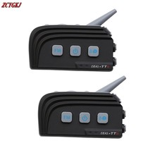 2016 New! Dual Bluetooth! 2 pcs 1500M Motorcycle helmet Intercom Wireless Moto Interphone for 4 Riders with FM Stereo headset