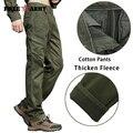 Invierno Pantalones Para Hombre Verde Del Ejército Espesar Fleece Pantalones Deportivos Rectas Pantalones Pantalones Cargo de Los Hombres Pantalones de Algodón de Estilo Militar Ocasional MK-787A