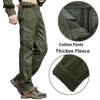 Winter Mens Pants Army Green Sweatpants Straight Thicken Fleece Pants Cargo Pants Men Military Style Casual Cotton Pants MK-787A