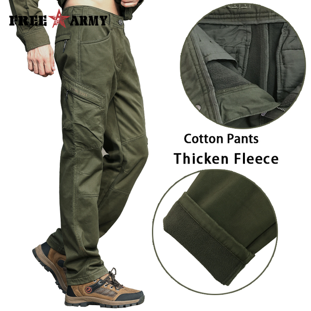 dbc893b530 Winter Mens Pants Army Green Sweatpants Straight Thicken Fleece Pants Cargo  Pants Men Military Style Casual