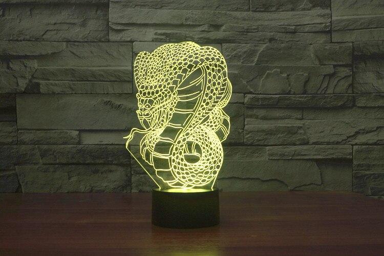 3D lamparas de mesa de mesa noche Night Light Lamp Snake Dragon Animal Vision Colorful Gradient Light Bedroom Decor Child Gif