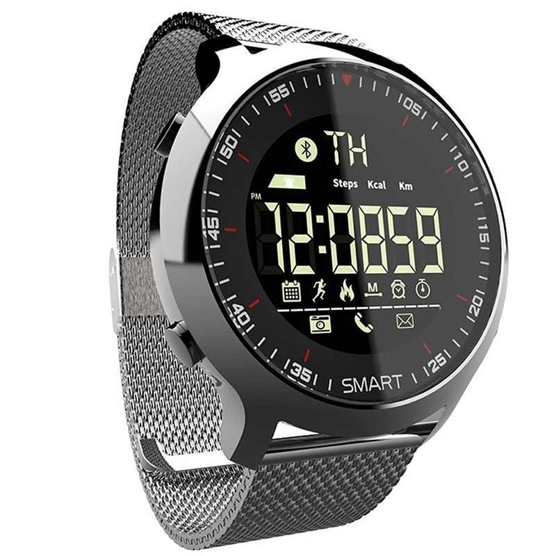 Smart Watch IP68 Tahan Air 5ATM Pedometer Pesan Pengingat Waktu Siaga Panjang Backlight Kebugaran Tracker Jam Tangan Gelang