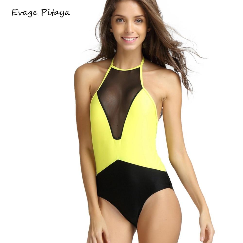 e7c61467d30 S-XL 2016 Summer Bodysuit See Through black Swimwear Mesh High Neck Swimsuit  Exotic Bathing suits One Piece Swimsuit Bodysuit