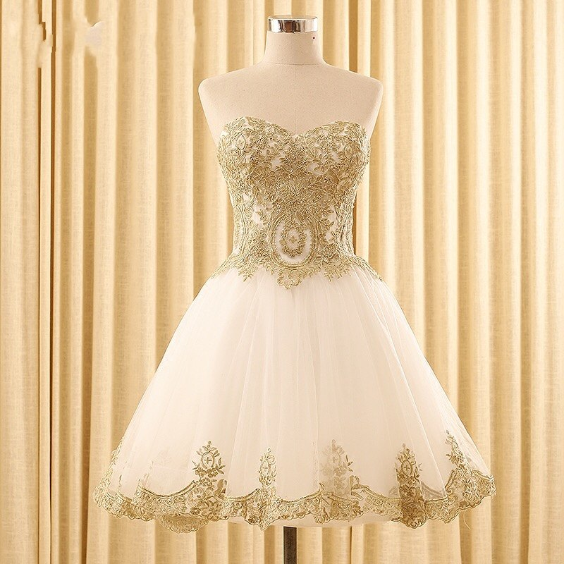e70b552cb4 Cute Red Gold Homecoming Dress For Graduation Gowns 2017 Cheap Short  Sweetheart Lace Applique Corset Prom Party Dresses New-in Homecoming Dresses  from ...