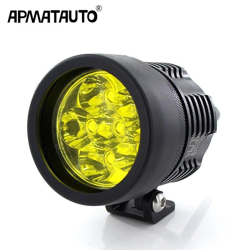 Мотоцикл фар 6000LM белый 6000 К желтый 3000 К для T6 XML чипы светодио дный туман пятно фары Spotlight Водонепроницаемый мотоцикл лампы