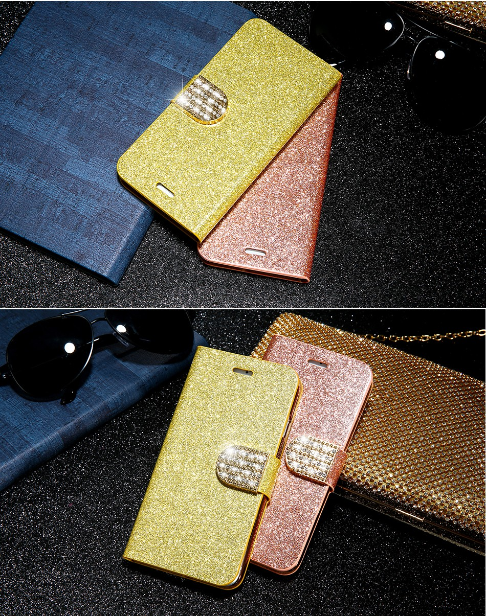FLOVEME Luxury Bling Diamond Glitter Flip Case for Apple iphone 6 6S 7  Plus 5.5 Leather Girl Bag Wallet Stand Rhinestone Cover (15)