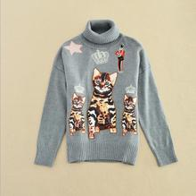 Europe and the United States ladies's new winter 2016 Long sleeve turtleneck style cats printed sweaters