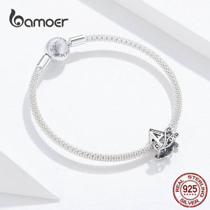 Image 2 - bamoer Name Jewelry Letter A Charm Bracelet Silver 925 Alphabet Metal Beads Female Fashion DIY Jewelry Making SCB829