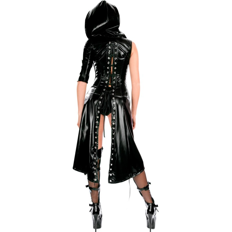 Black-Gothic-Punk-Wetlook-Sweet-Pea-Hooded-Coat-Gown-Dress-LC8960-2-2_conew1