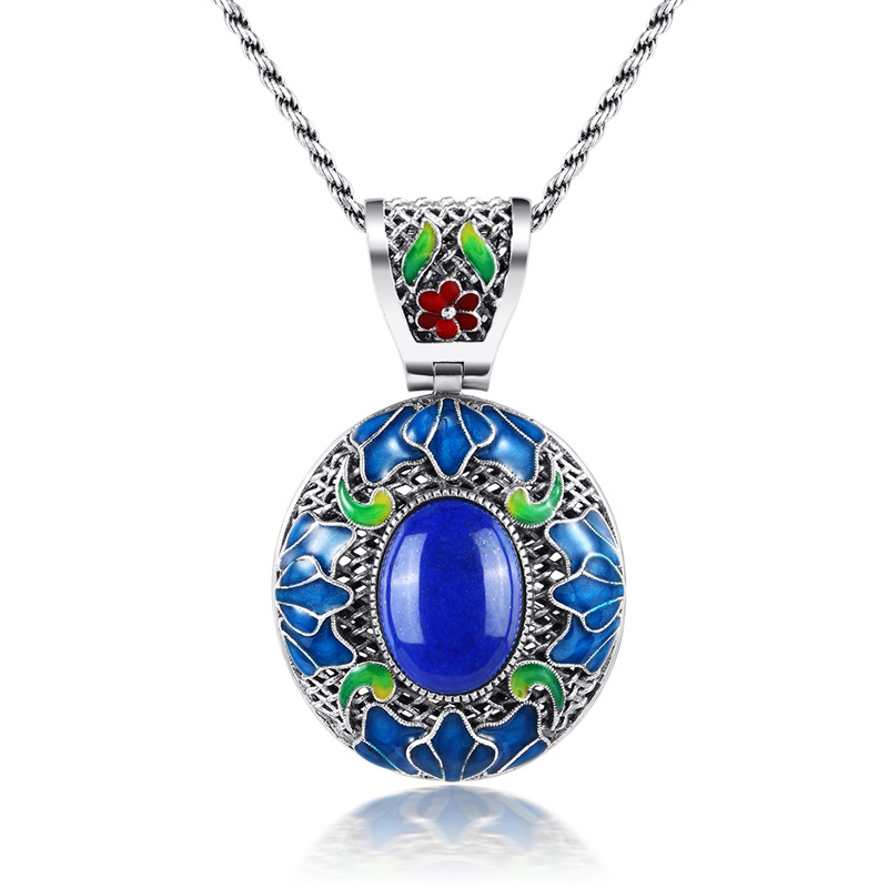 925 sterling silver yellow natural pendant lapis lazuli Enamel Cloisonne Pierced