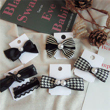 Korean Small Fragrance Handmade Hair Accessories Girl Women Fashion Simple Striped Houndstooth Plaid Bow Clip Hairpins