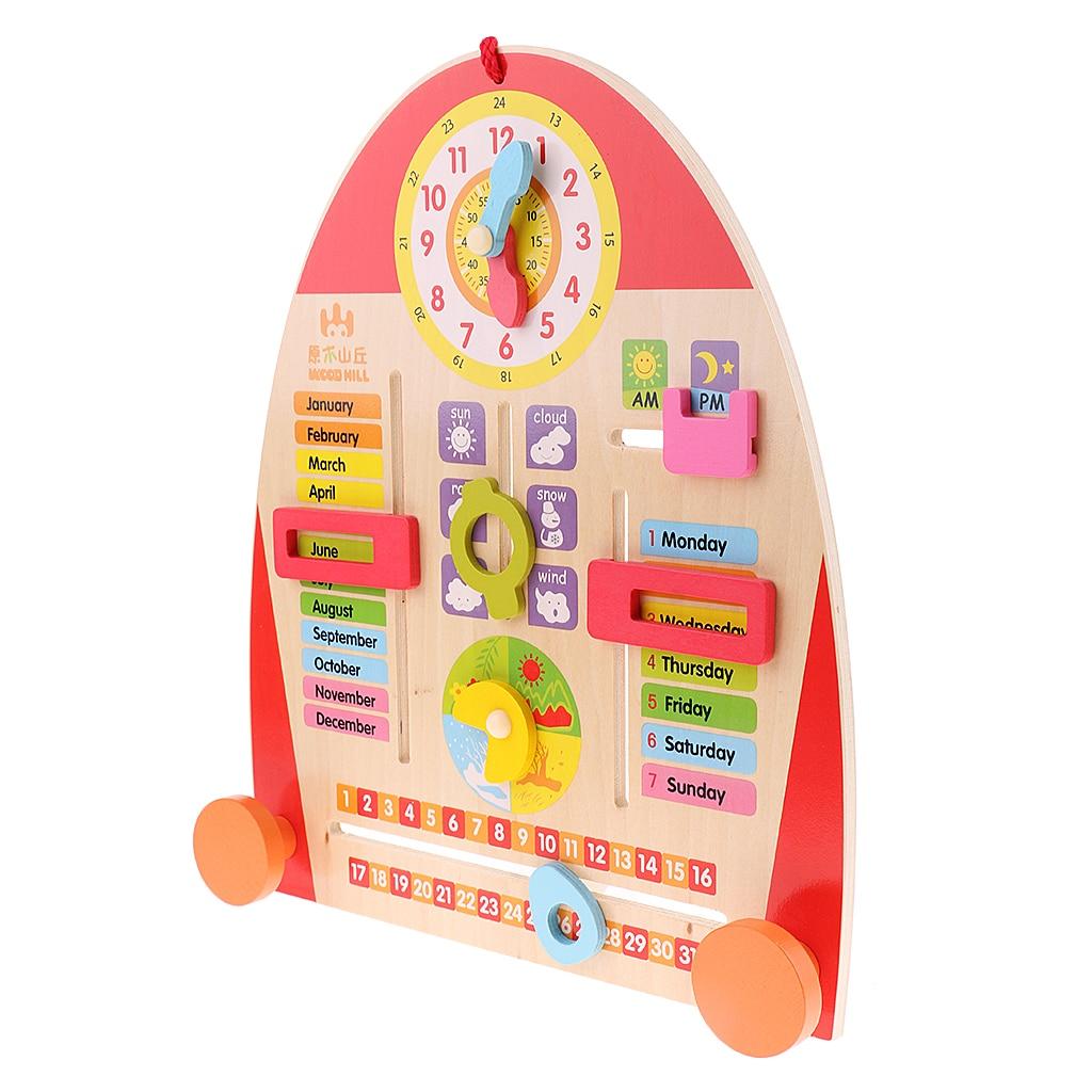 교육 장난감 유치원 교실 장식 어린이 조기 학습을위한 1PC 귀여운 나무 달력 보드 교육 시계