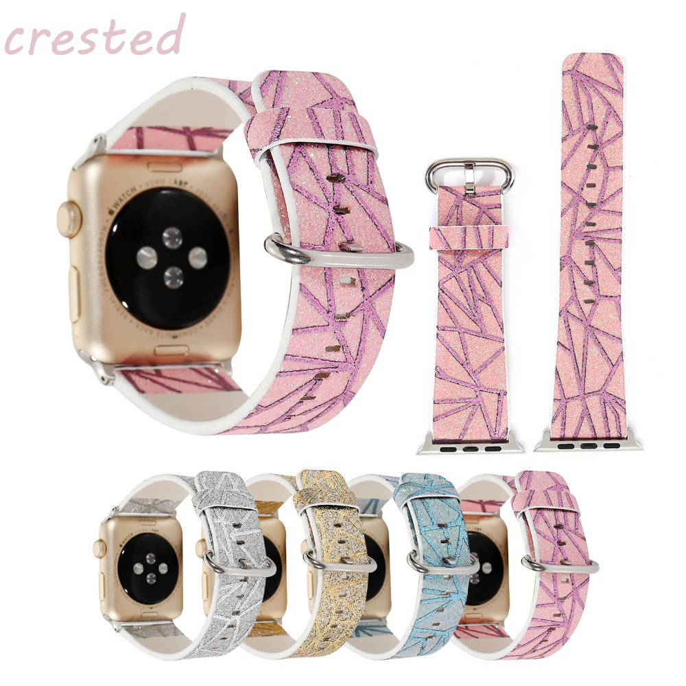 купить CRESTED genuine leather strap for apple watch band 42mm/38 Leaf pattern bracelet watchband for iwatch 3/2/1 women watch srap по цене 637.61 рублей