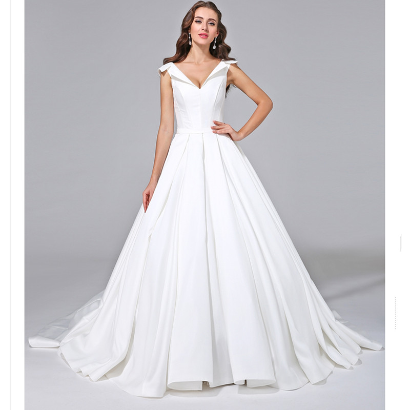 421d974b081 LAN TING BRIDE A Line Backless Wedding Dress V neck Short Sleeves Court  Train Satin Bridal Gown with Button Vestido De Noiva-in Wedding Dresses  from ...