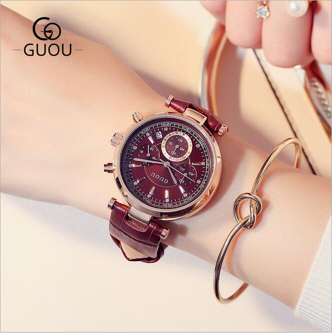 GUOU Watches Women Fashion Leather Auto Date Women's Watch Multi-runtioan Luxury Ladies Clock saat relogio feminino reloj mujer women watches elegant fashion ladies watch wristwatch clock small round dial mini women watch relogio feminino saat reloj mujer