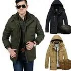 Среднего возраста бизнес человек Повседневная зимняя куртка пальто на молнии с капюшоном флис хлопок Верхняя одежда ветровка outfit5X