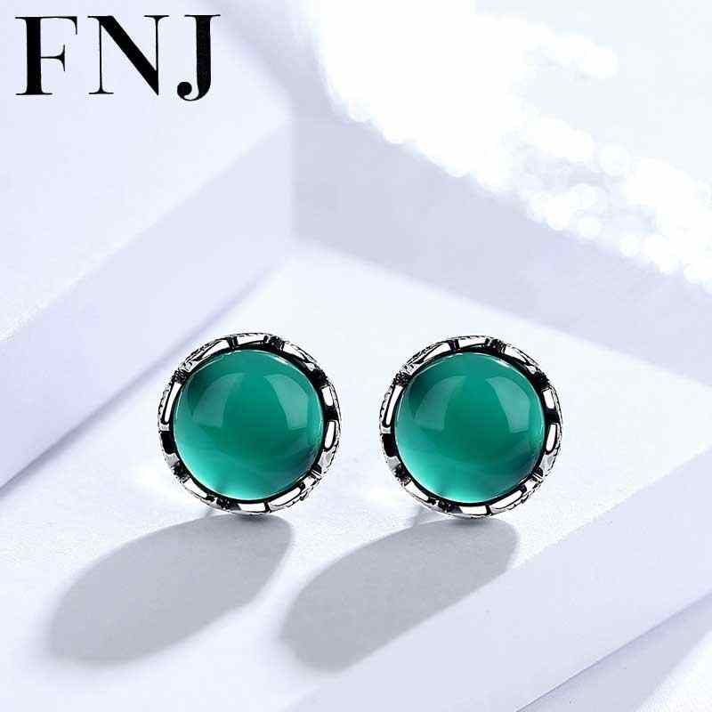 FNJ 925 Silver Earring Natural Green Stone 100% S925 Sterling Silver boucle d'oreille Chalcedony Stud Earrings for Women Jewelry