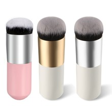 3colors Round top chubby pier foundation flat brush Liquid Powder BB cream makeup brushes Cosmetic Make up Large Brush
