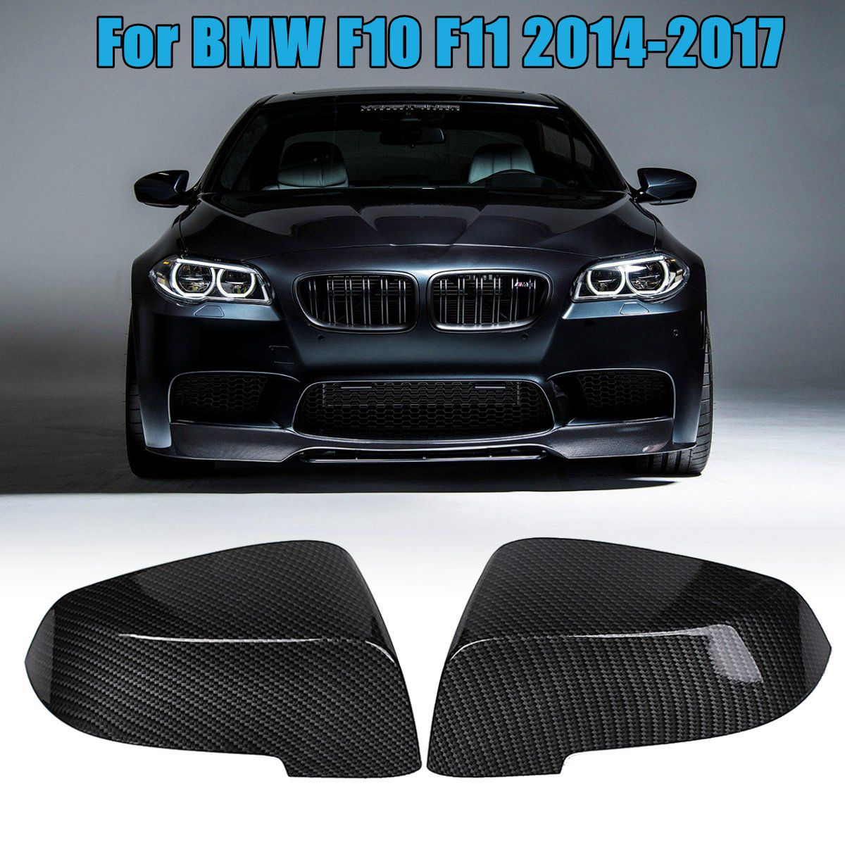 1 Pair Carbon Fiber Side Wing Replacement Rearview Mirror Cover Cap for BMW F10 F11 2014 2015 2016 2017