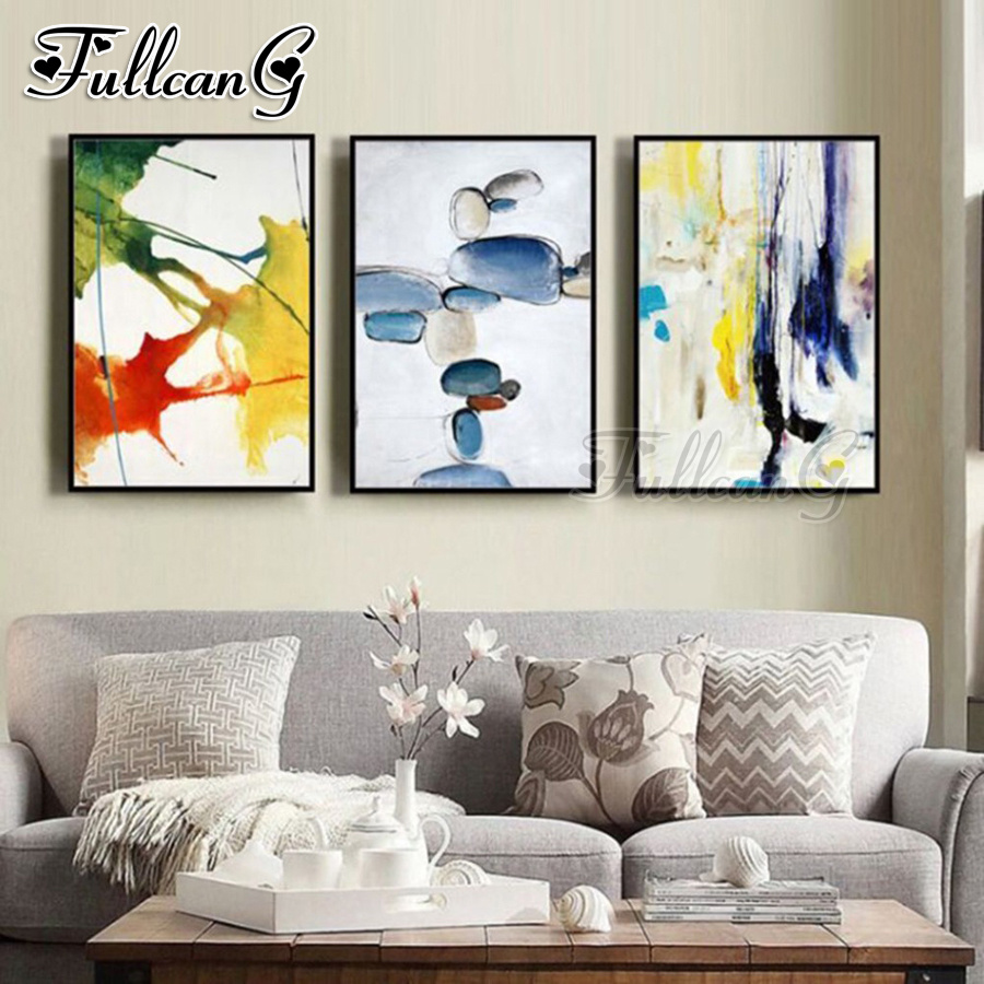 FULLCANG 3pcs diy diamond embroidery abstract watercolor triptych painting full square round drill 5d mosaic pattern kit FC1051 in Diamond Painting Cross Stitch from Home Garden
