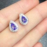 2017 реальные Brincos, можно носить с Qi Xuan_Fashion Jewelry_Blue Камень Модные Earrings_S925 чистого серебра синий Earrings_Factory прямые продажи