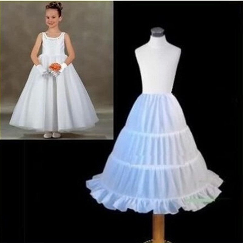 3 Hoops White A-Line Flower Girl Dress Petticoat 2019 Top Quality Child Underskirt For Flower Girl Dresses Length 53 CM