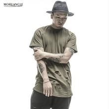 Moruancle moda Hi-Street hombre ripped hip hop Camisas streetwear extendido  apenada camiseta Longline Camisetas agujeros 65db9c8e645