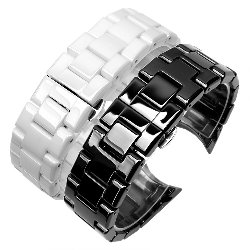 For AR1400 High quality Ceramic watchbands black white Strap with butterfly clasp lug End watch accessories Fashion bracelets 2649 butterfly diamond winding watch fashion bracelets