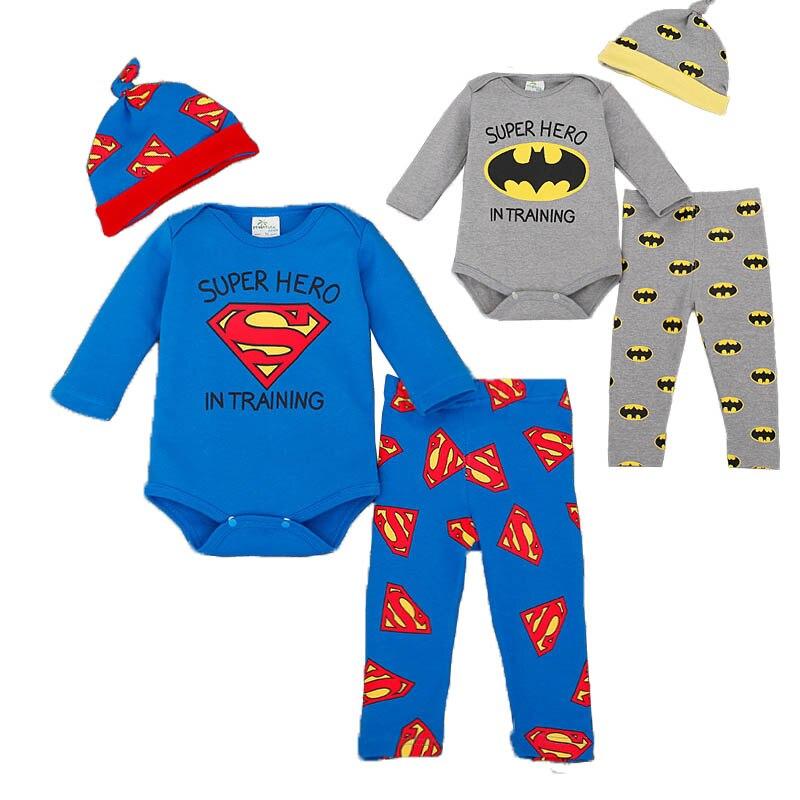 Superhero Baby Rompers Infant Children Homewear Clothes Set Full Sleeve Newborn Boys Bodysuit+Pant+Cap 3pcs Suits Playsuit