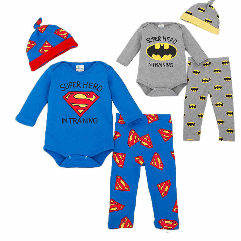Superhero Baby Rompers Infant Children Homewear Clothes Set Full Sleeve Newborn Boys Bodysuit+Pant+Cap 3pcs Suits Playsuit