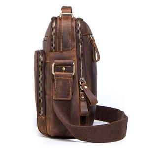 Image 4 - Men Bag Shoulder Crossbody Genuine Leather Messenger Bag Retro Small Male Pack Back Mochila Flap Business Travel Handbags Gift