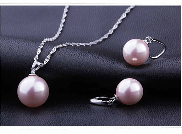 Classic Bridal Jewely Set Good Quality 925 Sterling Silver Freshwater Pearl Pendant Necklace Earring Women Party Gift