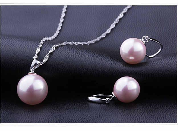 Klassische Braut Jewely Set Gute Qualität 925 Sterling Silber Süßwasser Perle Anhänger Halskette Ohrring Frauen Party Geschenk