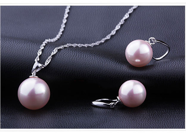 Classic Pearl Pendant And Earrings Sterling Silver Set