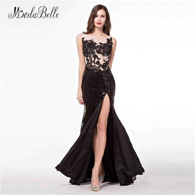 modabelle Slit Sexy Prom Dresses Sequin Applique vestidos largos de fiesta  elegante 2018 Sheer Backless Formal Party Gowns a2bb183ef692