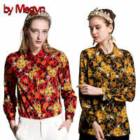 От Megyn женские рубашки рубашка с длинным рукавом Женская мода подиумная блузка с принтом кота женские блузки плюс размер 3xl женские рубашки ...