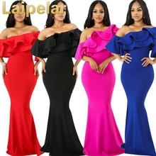 Laipelar Maxi Party Dress Women Mermaid Dresses Irregular Ruffled One-Shoulder Autumn Elegant Club Long Cami