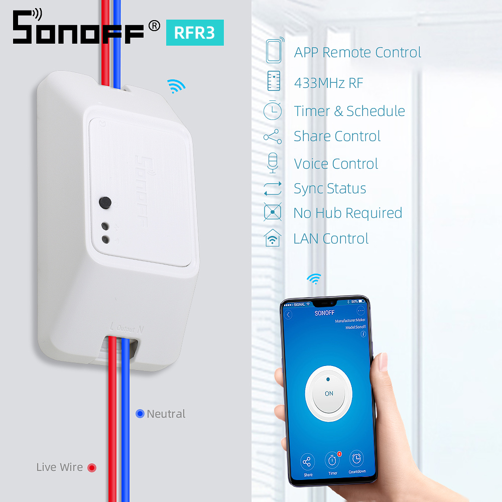 2019 Sonoff Basic R3 WiFi Switch Inteligente Dispositivos de Control Remoto inal/ámbrico compatibles con Alexa y Google Home DIY Your Smart Home